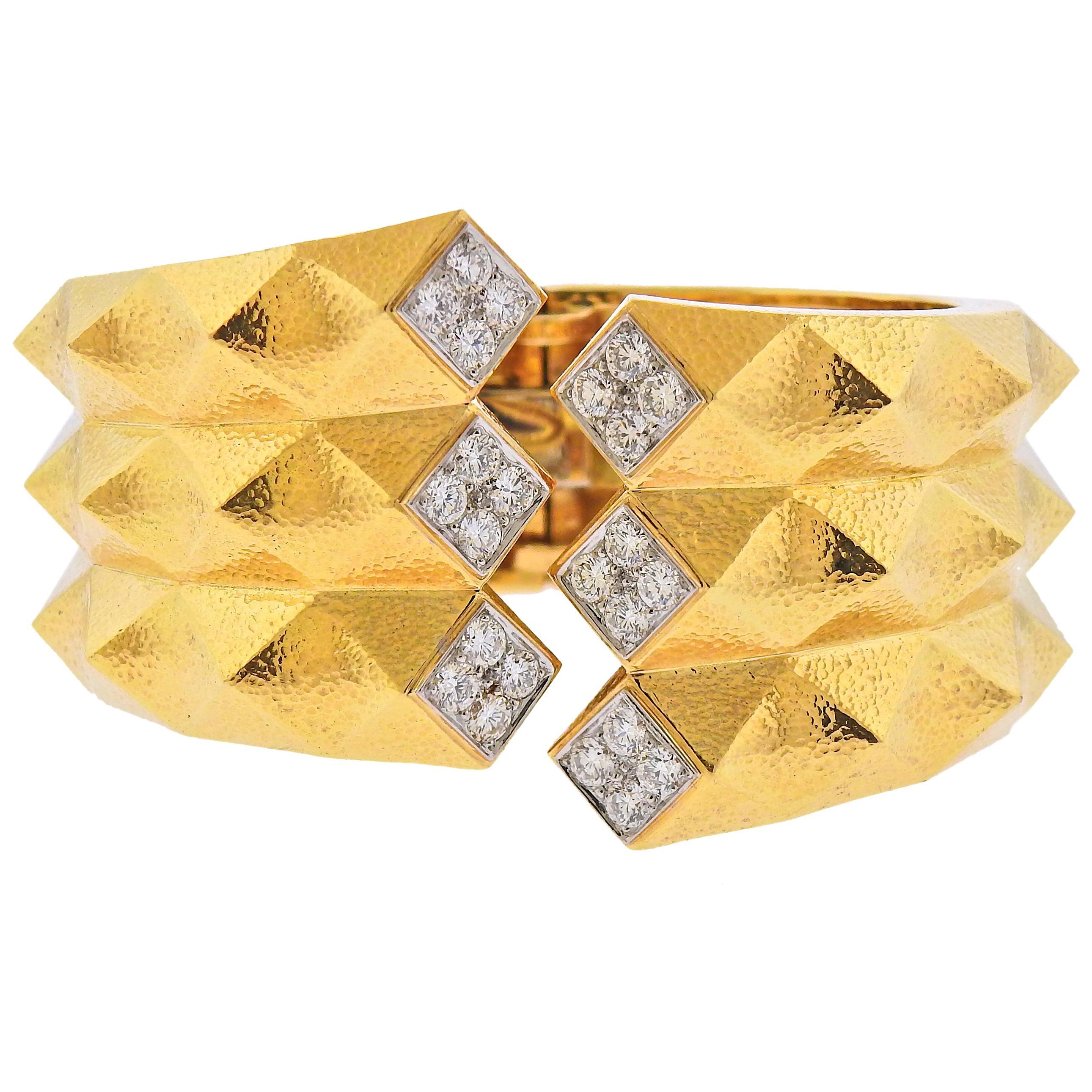 David Webb Diamond Gold Platinum Origami Cuff Bracelet