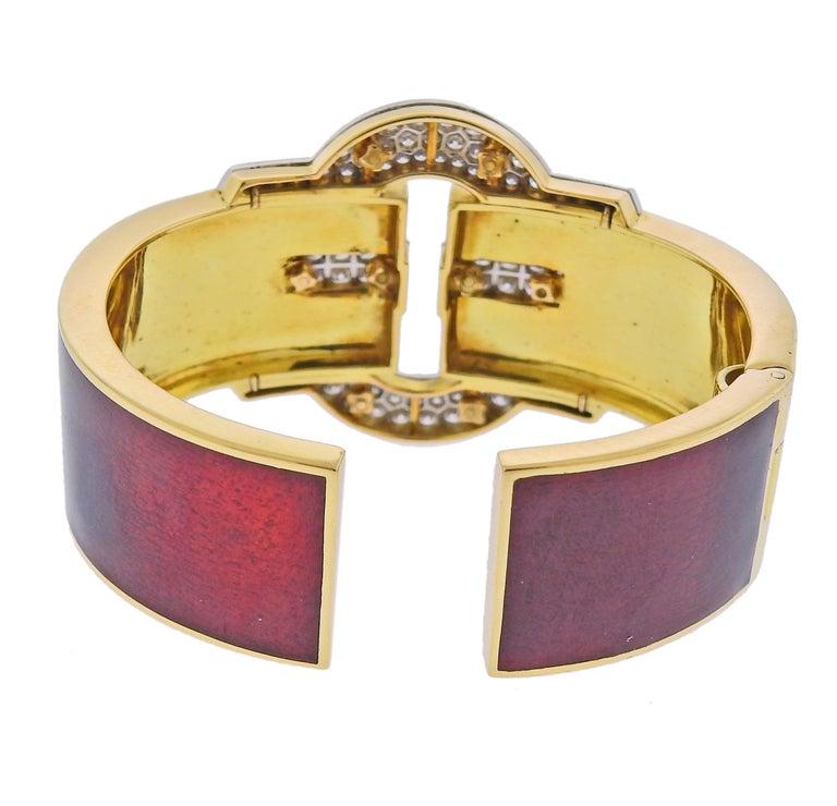 Round Cut David Webb Diamond Gold Platinum Red Enamel Buckle Cuff Bracelet For Sale