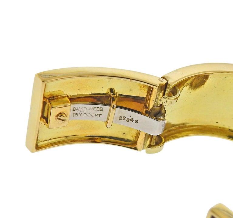 David Webb Diamond Gold Platinum Red Enamel Buckle Cuff Bracelet In Excellent Condition For Sale In Boca Raton, FL