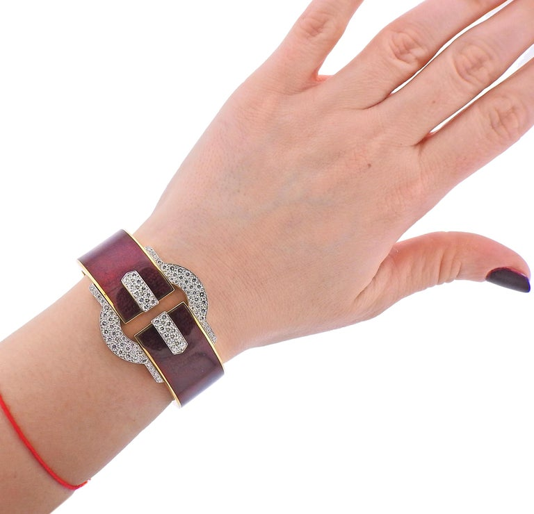 Women's David Webb Diamond Gold Platinum Red Enamel Buckle Cuff Bracelet For Sale