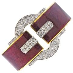 David Webb Diamond Gold Platinum Red Enamel Buckle Cuff Bracelet