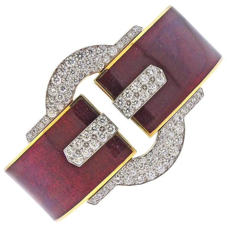 David Webb Diamond Gold Platinum Red Enamel Buckle Cuff Bracelet For Sale