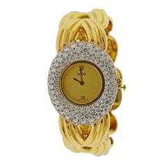 David Webb Diamond Gold Platinum Watch Bracelet