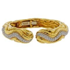 David Webb Diamond Gold Platinum Wave Bracelet