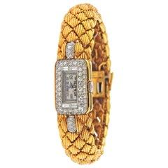 David Webb Diamond Gold Watch Bracelet