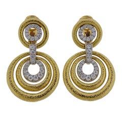 David Webb Diamond Hammered Gold Platinum Circle Drop Earrings