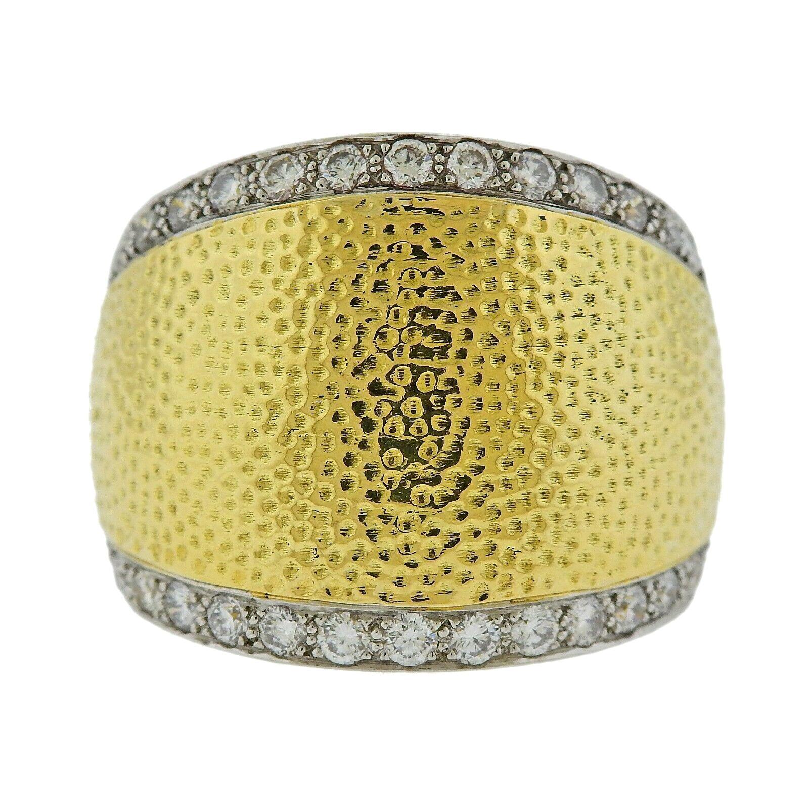 David Webb Diamond Hammered Gold Platinum Ring