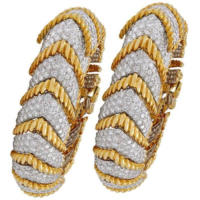 David Webb Diamond Herringbone Shape Link Bracelets