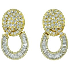 David Webb Diamond Yellow Gold Hoop Earrings