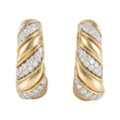 David Webb Diamond Hoop Earrings