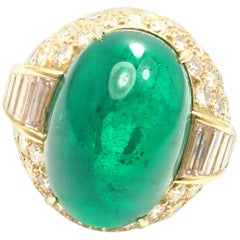 David Webb Diamond Large Colombian Emerald Yellow Gold Ring
