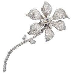 David Webb Diamond Long Stem Flower Brooch