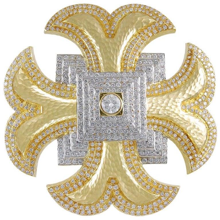 David Webb Maltese Cross Diamond Brooch For Sale