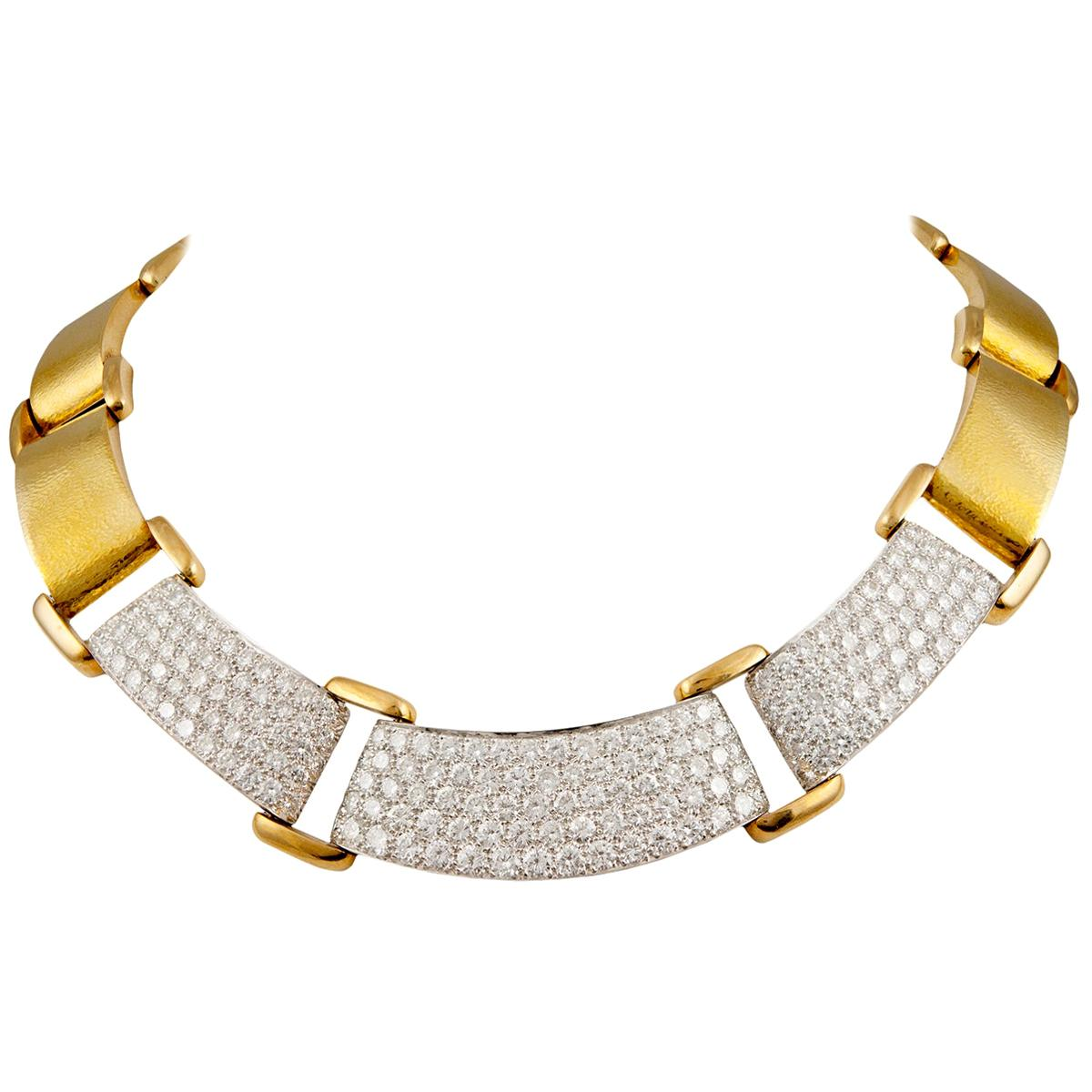 David Webb Diamond Yellow Gold Necklace