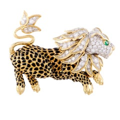 David Webb Diamond Pave and Emerald 18K Yellow and White Gold Leapon Brooch