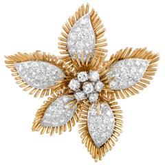 David Webb Diamond Pavé Yellow Gold and Platinum Flower Brooch