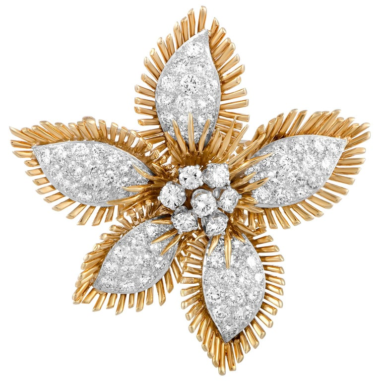 David Webb Diamond Pavé Yellow Gold and Platinum Flower Brooch For Sale