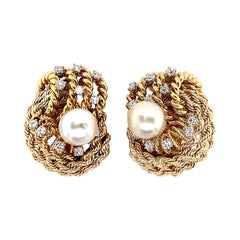David Webb Diamond Pearl Ear Clips