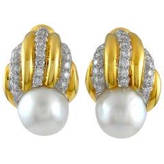 David Webb Diamond Pearl Earrings