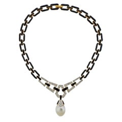 David Webb Diamond Pearl Enamel Platinum Gold Necklace