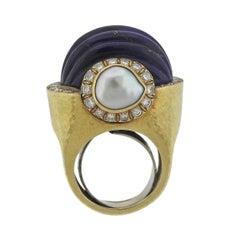 David Webb Diamond Pearl Lapis Gold Ring