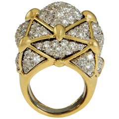 David Webb, Diamond, Platinum and Gold Geodesic Dome Ring