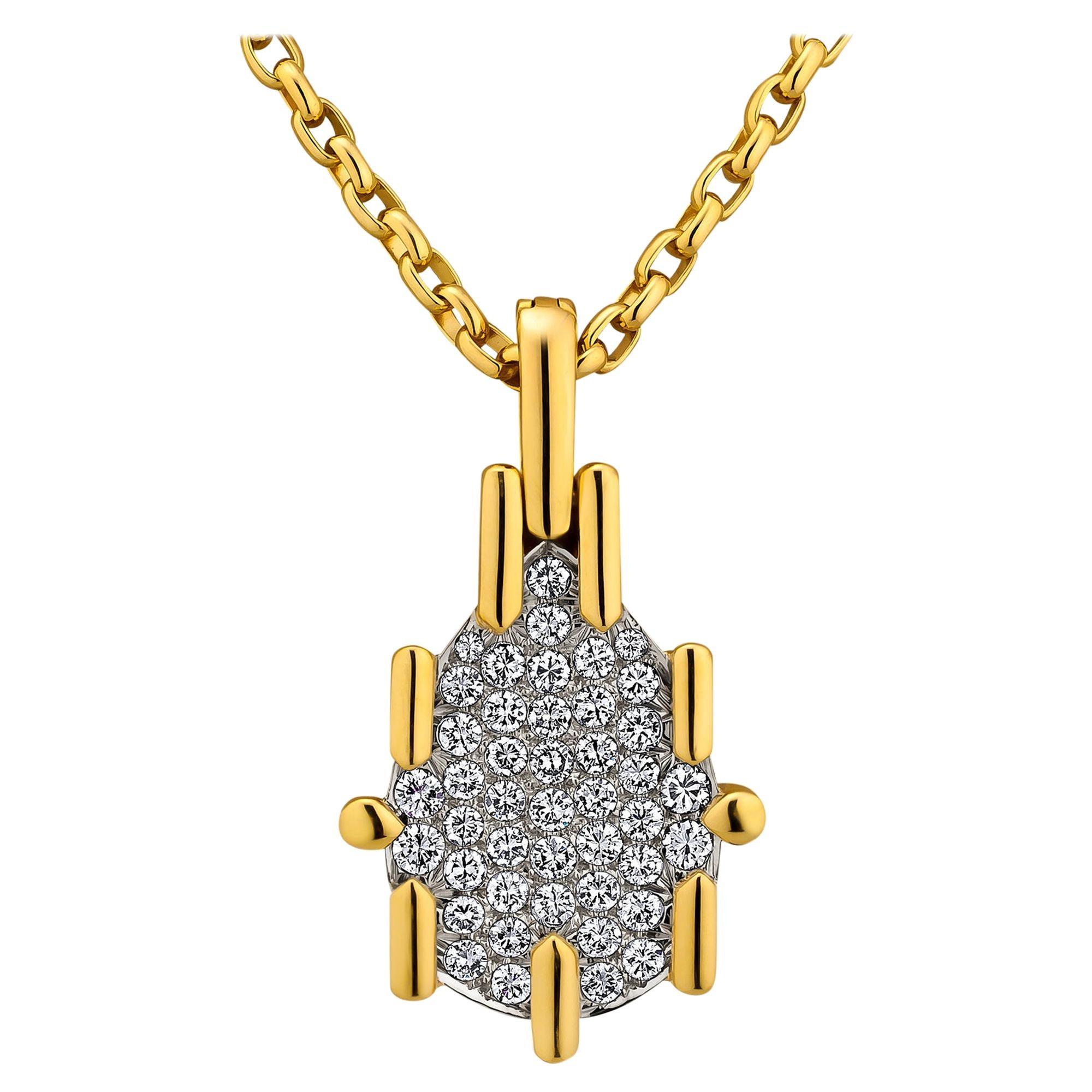 David Webb Diamond Platinum Vintage Gold Pendant Necklace