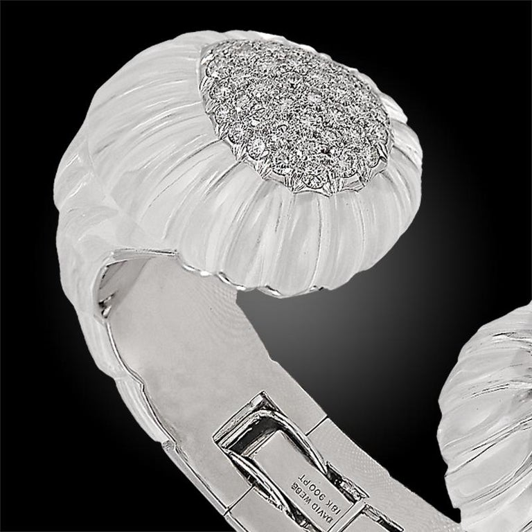 David Webb Diamond Rock Crystal Bangle In Excellent Condition For Sale In New York, NY
