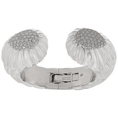 David Webb Diamond Rock Crystal Bangle
