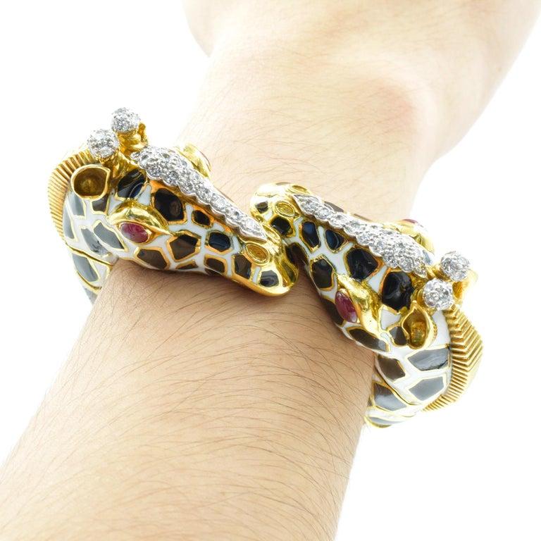 Artist David Webb Diamond, Ruby and Enamel Giraffe Bracelet For Sale