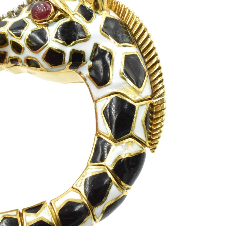 Women's or Men's David Webb Diamond, Ruby and Enamel Giraffe Bracelet For Sale
