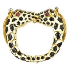 David Webb Diamond, Ruby and Enamel Giraffe Bracelet