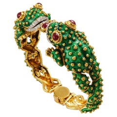 David Webb Diamond Ruby Enamel Gold Platinum Frog Bracelet