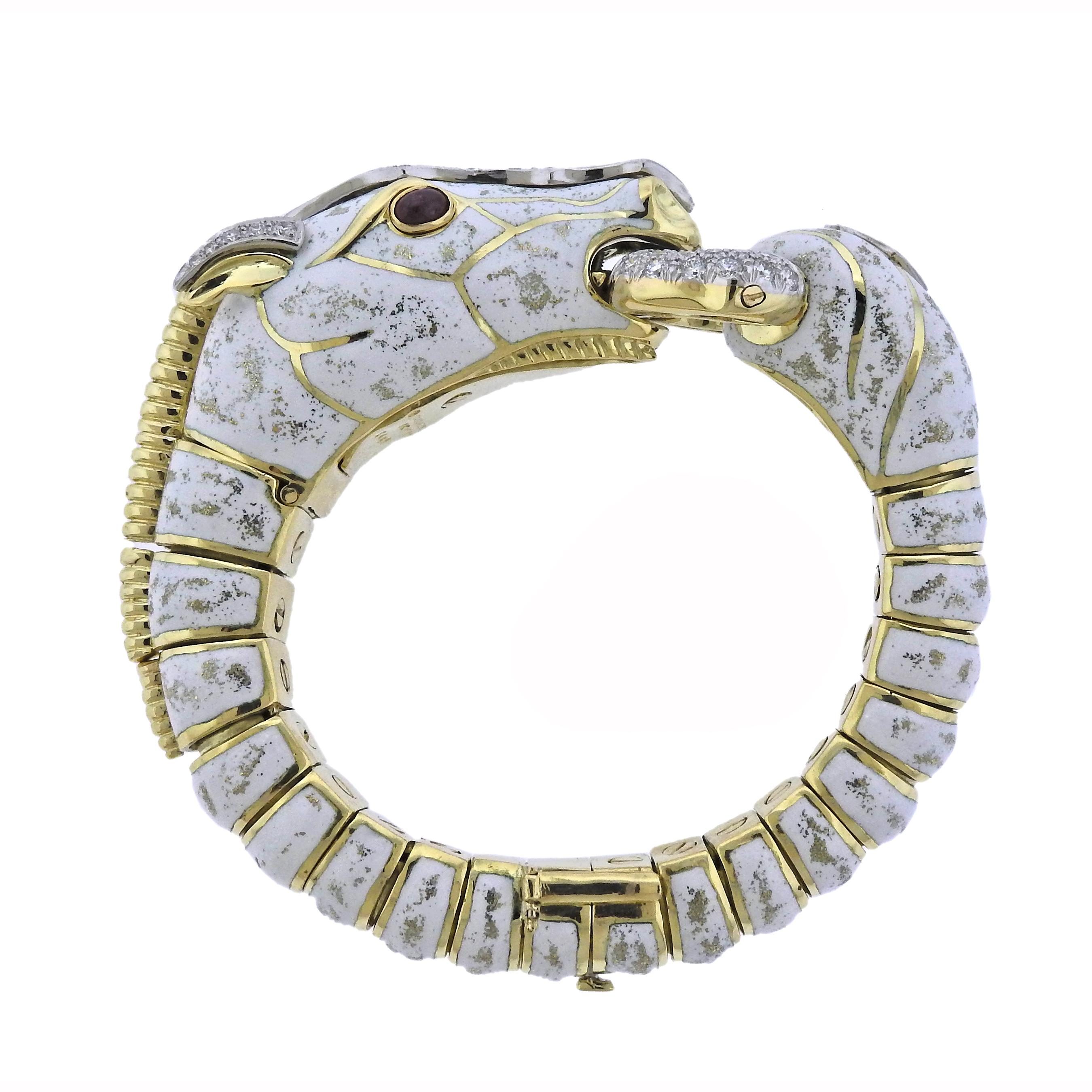 David Webb Diamond Ruby Enamel Gold Platinum White Horse Bracelet