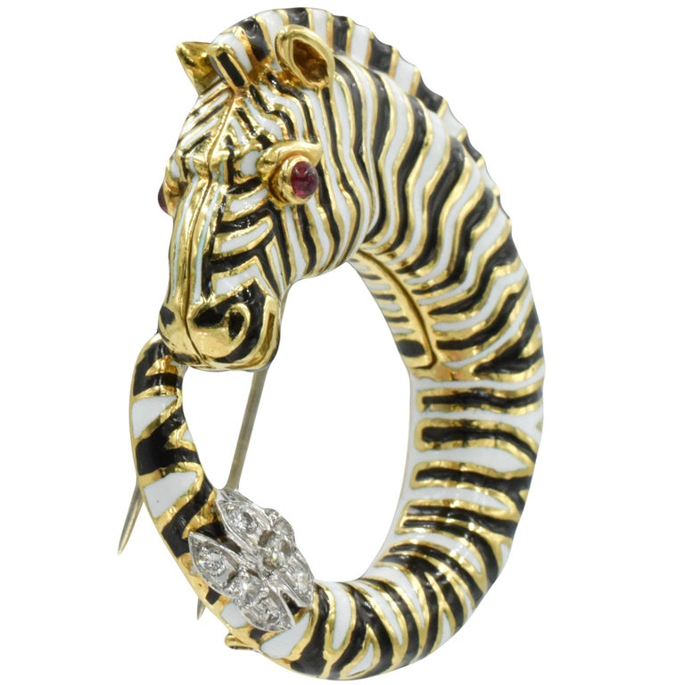 Round Cut David Webb Diamond, Ruby, Enamel Zebra Brooch For Sale