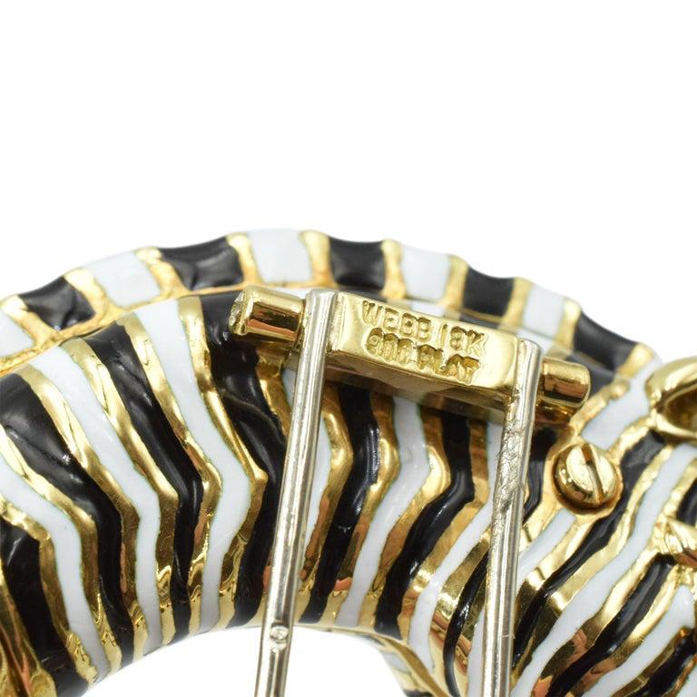 Women's or Men's David Webb Diamond, Ruby, Enamel Zebra Brooch For Sale