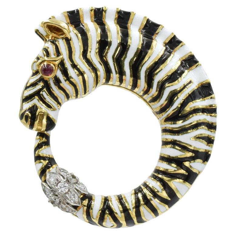 David Webb Diamond, Ruby, Enamel Zebra Brooch For Sale