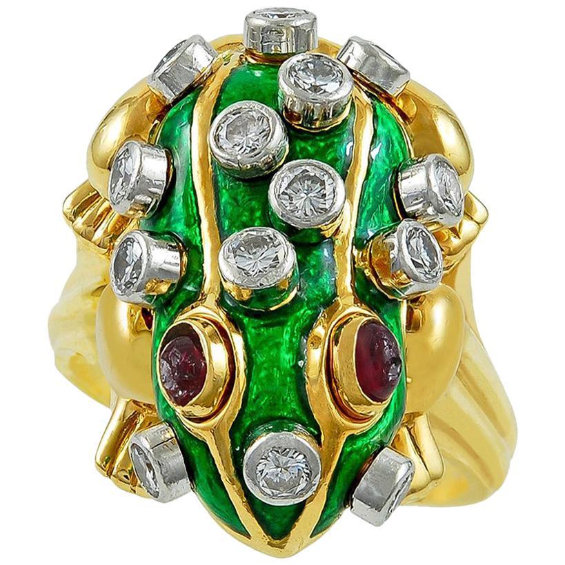 David Webb Diamond Ruby Green Enamel Yellow Gold Frog Ring