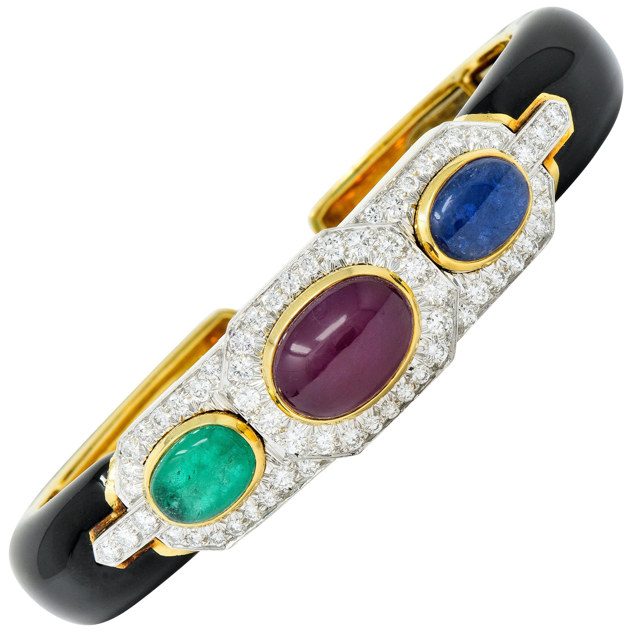 David Webb Diamond Ruby Sapphire Emerald Enamel Platinum 18 Karat Bracelet