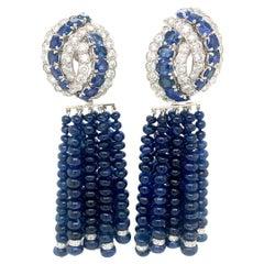 David Webb Diamond Sapphire Day Night Platinum Gold Earrings