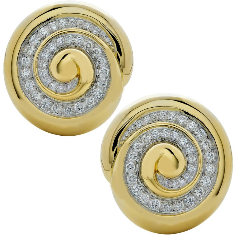 David Webb Diamond Swirl 18 Karat White & Yellow Gold Earrings