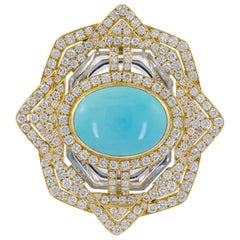David Webb Diamond, Turquoise, Crystal Pendant Brooch