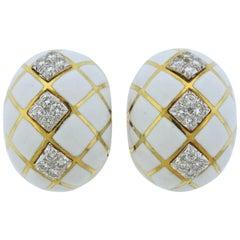 David Webb Diamond White Enamel Gold Platinum Earrings