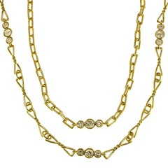 David Webb Diamond Yellow Gold Long Chain Necklace Pair Set