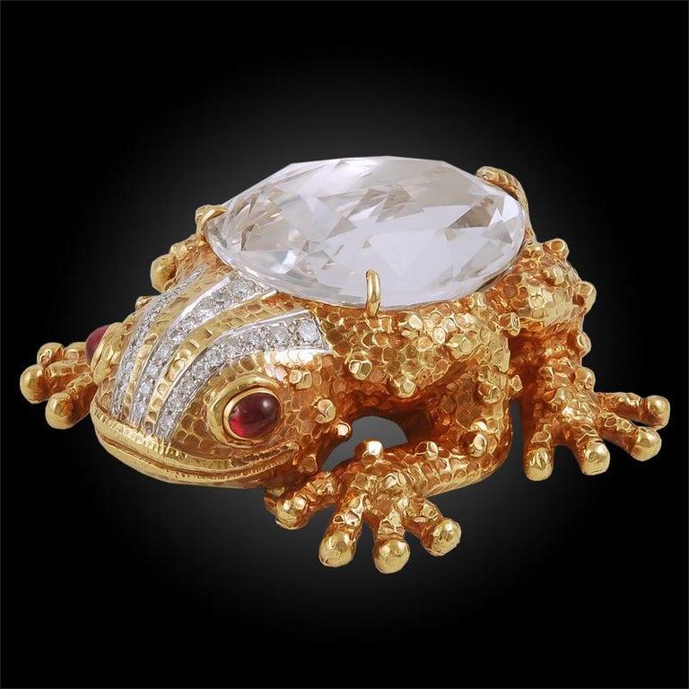 Women's or Men's David Webb Diamond, Ruby Rock Crystal Frog Brooch For Sale