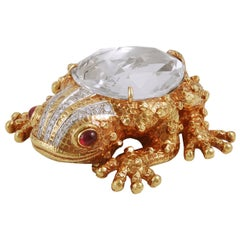 David Webb Diamond, Ruby Rock Crystal Frog Brooch