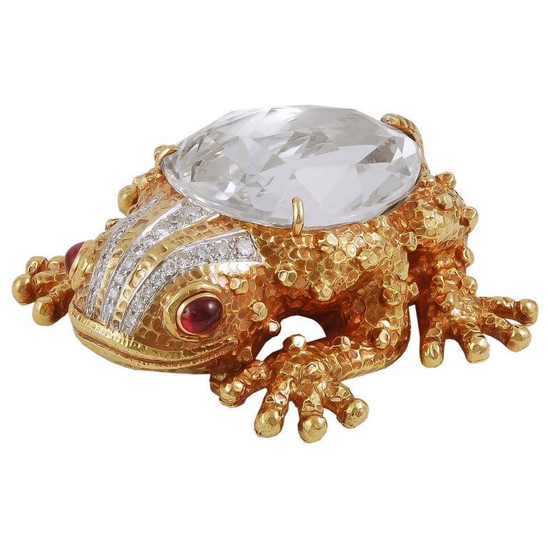David Webb Diamond, Ruby Rock Crystal Frog Brooch For Sale