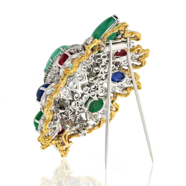 Modern Diamond And Gemstones Heraldic Brooch from 1970's For Sale