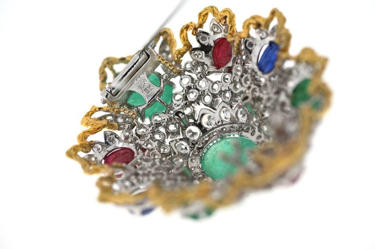 Emerald Cut Diamond And Gemstones Heraldic Brooch from 1970's For Sale