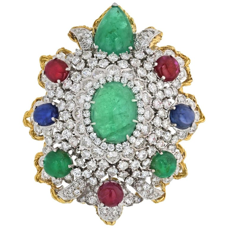 Diamond And Gemstones Heraldic Brooch from 1970's For Sale